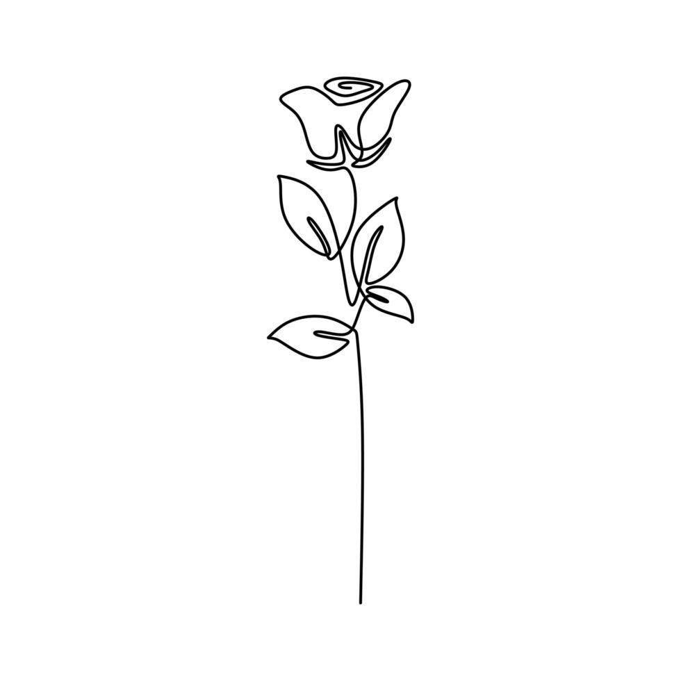 uma linha de design rosa. desenho de linha contínua de flor rosa. lindo sinal rosa de amor isolado no fundo branco. ideia de tatuagem. ilustração em vetor estilo minimalismo desenhada à mão