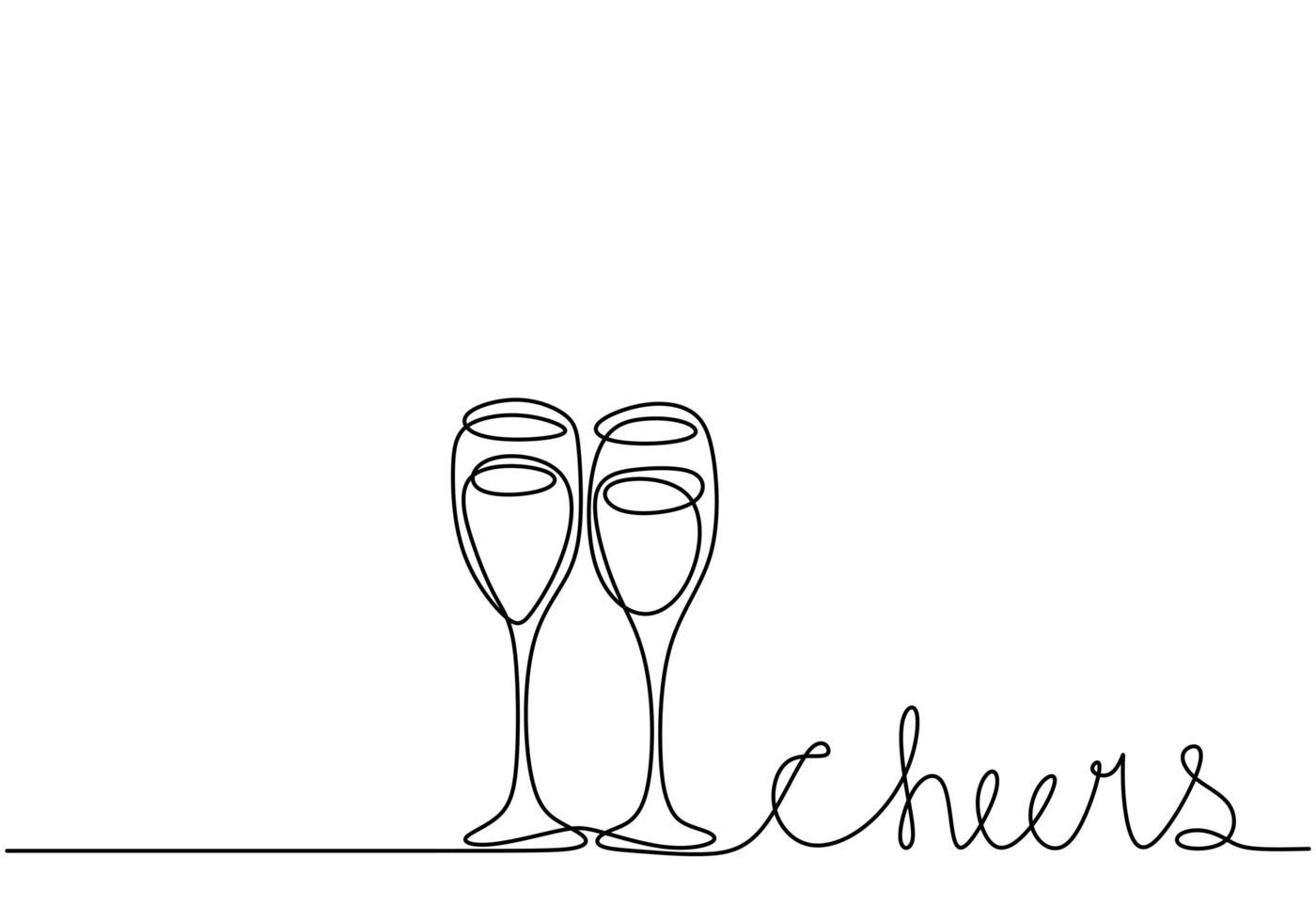 desenho de uma linha contínua. torcendo com taças de vinho ou champanhe. minimalismo esboço mão desenhada isolado no fundo branco. estilo abstrato de arte linha simplicidade. vetor