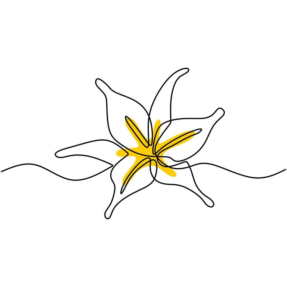 arte de linha contínua bela flor design minimalista. flor decorativa para cartaz. linha editável. contorno contorno desenhado à mão ilustração vetorial de arte de planta botânica vetor