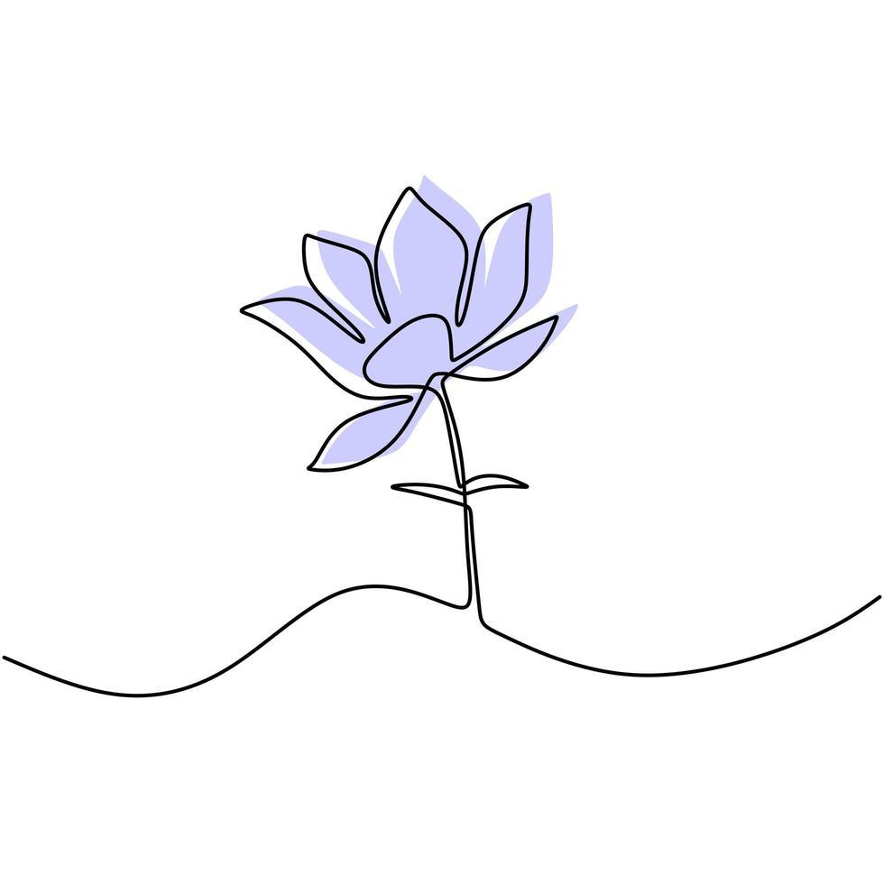 ilustração em vetor linha contínua flor lótus. lindo lírio d'água isolado no fundo branco. natureza água planta ecologia vida beleza conceito. decoração floral. desenho de contorno minimalista