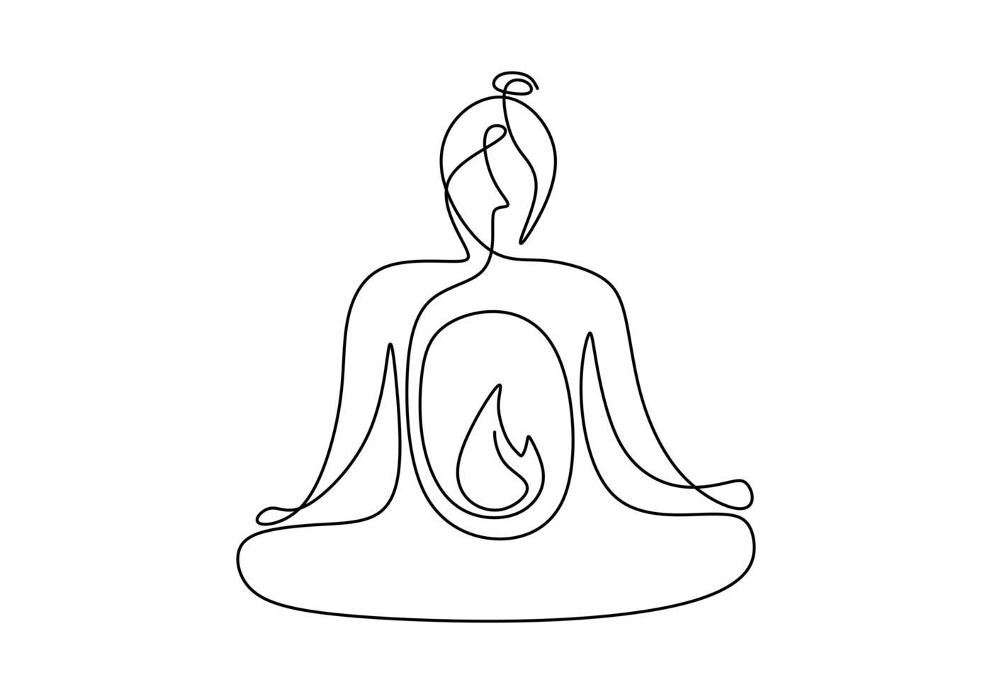 mulher fazendo ioga exercício contínuo estilo minimalismo de ilustração vetorial de uma linha. linda jovem sentada cruzando a perna com pose de lótus de ioga isolada no fundo branco. estilo minimalista vetor