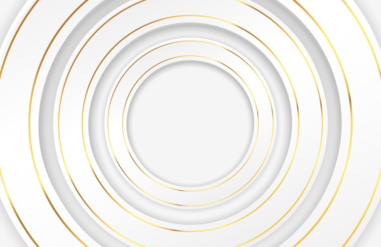 círculos brancos luxuosos com bordas douradas vetor