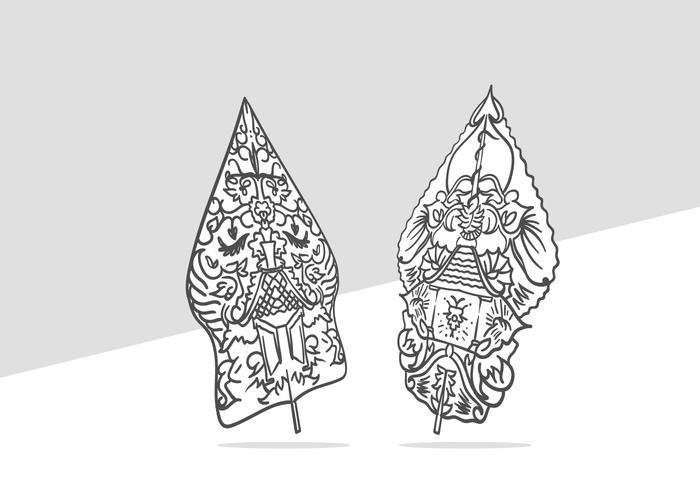 gunungan wayang linha arte mão desenhada ilustração vetor