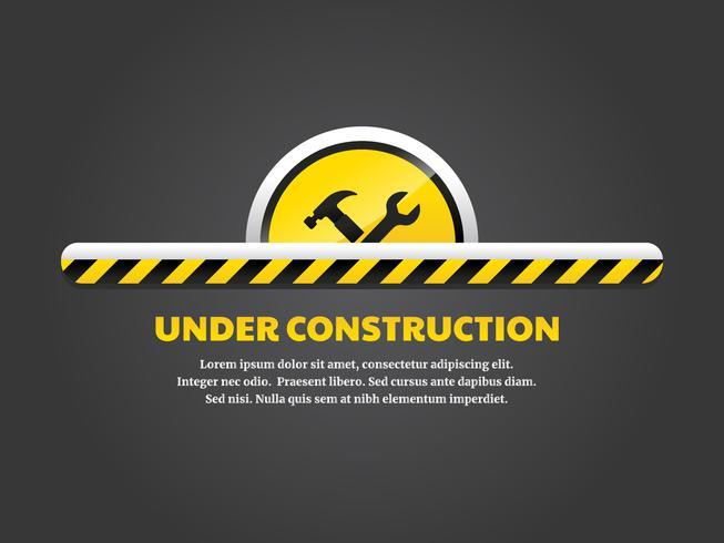 Em construção página de destino vetor