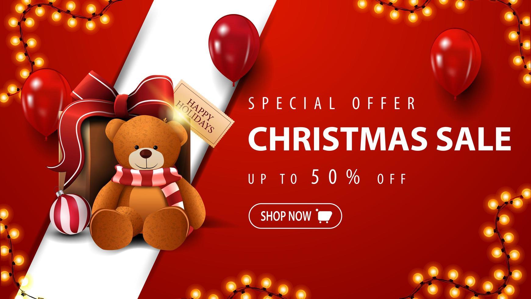 oferta especial, liquidação de natal, até 50 de desconto, banner vermelho de desconto com guirlanda, balões vermelhos e presente com ursinho de pelúcia vetor