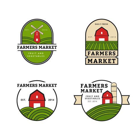 Coleção de Logo do Mercado de Agricultores vetor