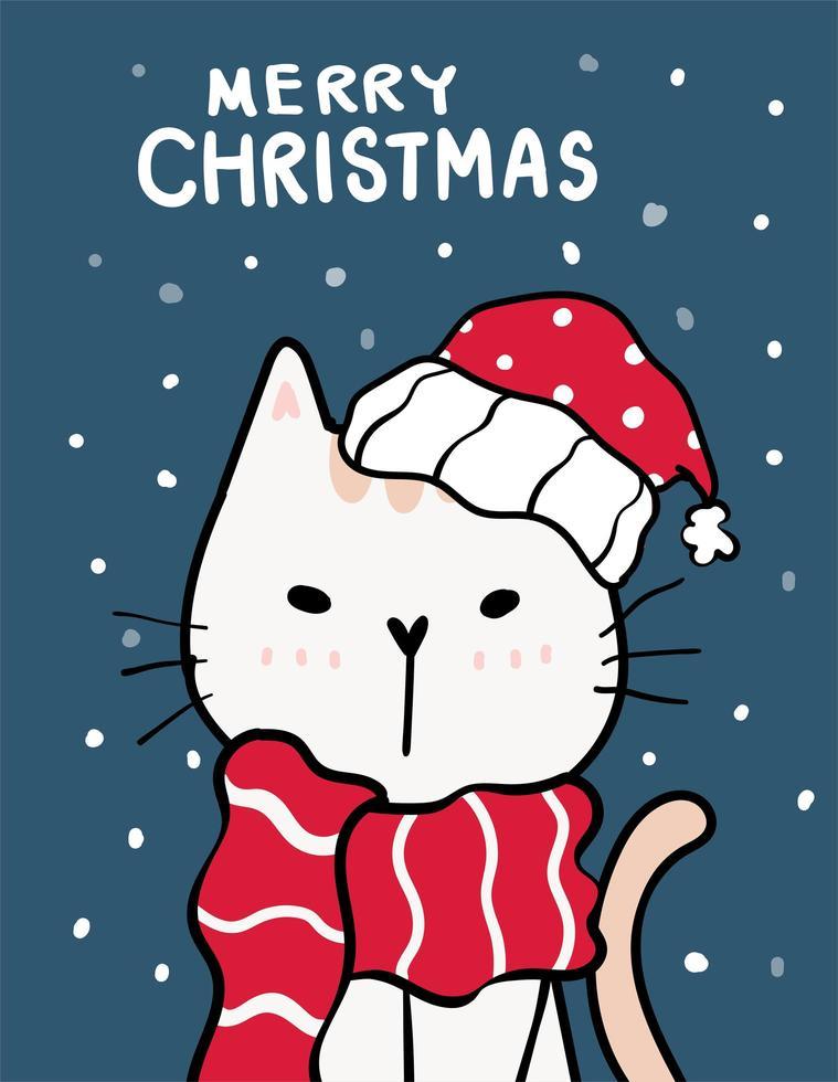 catmas felizes, cartão de Natal com gato fofo vetor