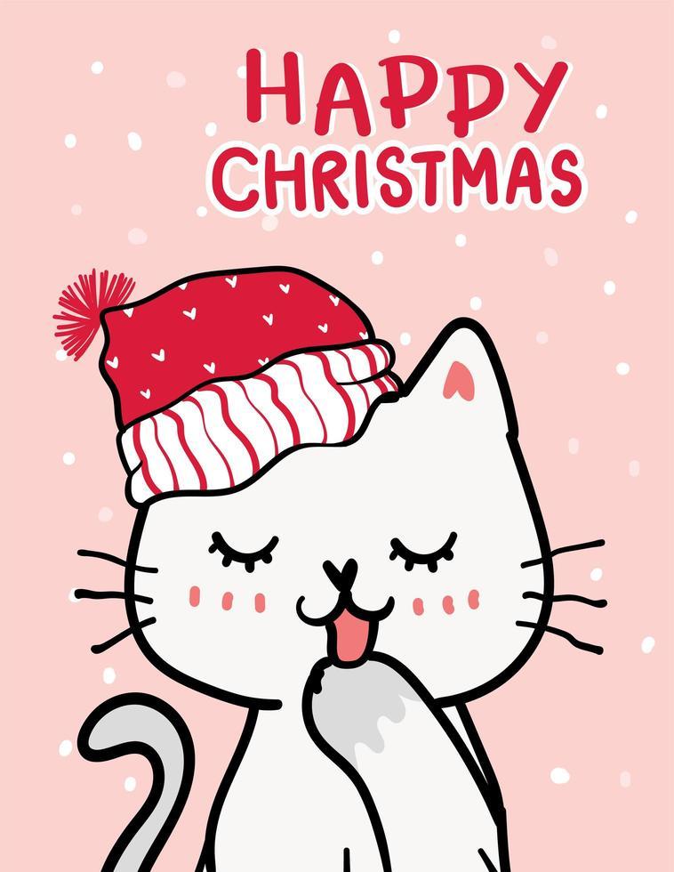 cartão de feliz natal com gato fofo vetor