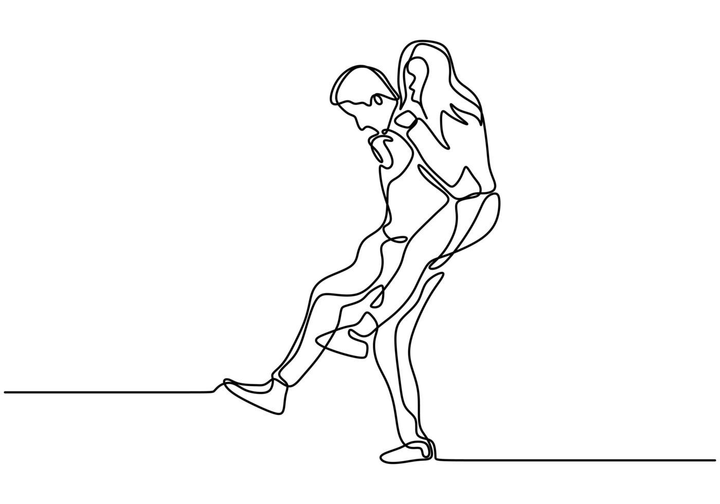 desenho de linha contínua. casal romantico. design de conceito de tema de amantes. minimalismo desenhado de uma mão. metáfora de ilustração vetorial de amor, homem carregando a menina isolada no fundo branco. vetor
