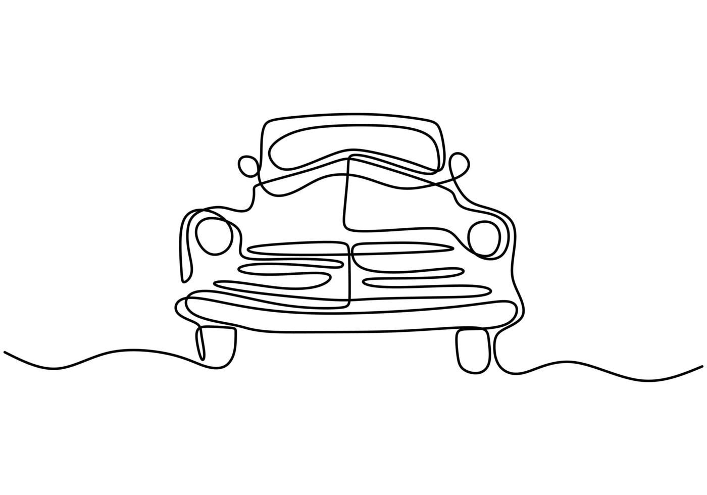 um único desenho de linha do velho carro retro vintage auto. conceito clássico de veículo de transporte. carro de corrida vintage dirigindo na estrada poeirenta. ilustração de desenho de desenho de linha contínua vetor