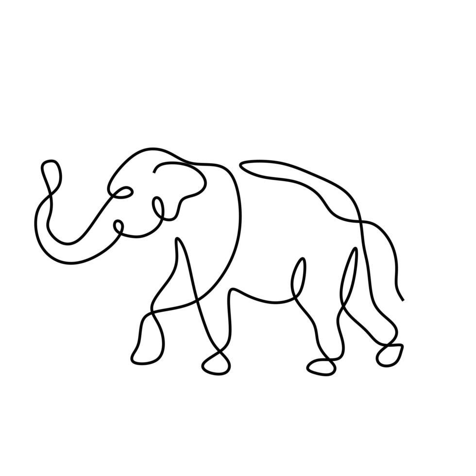 desenho de uma linha, ilustração vetorial de elefante. estilo de minimalismo animal de vida selvagem abstrata. mão contínua desenhada isolado no fundo branco. vetor