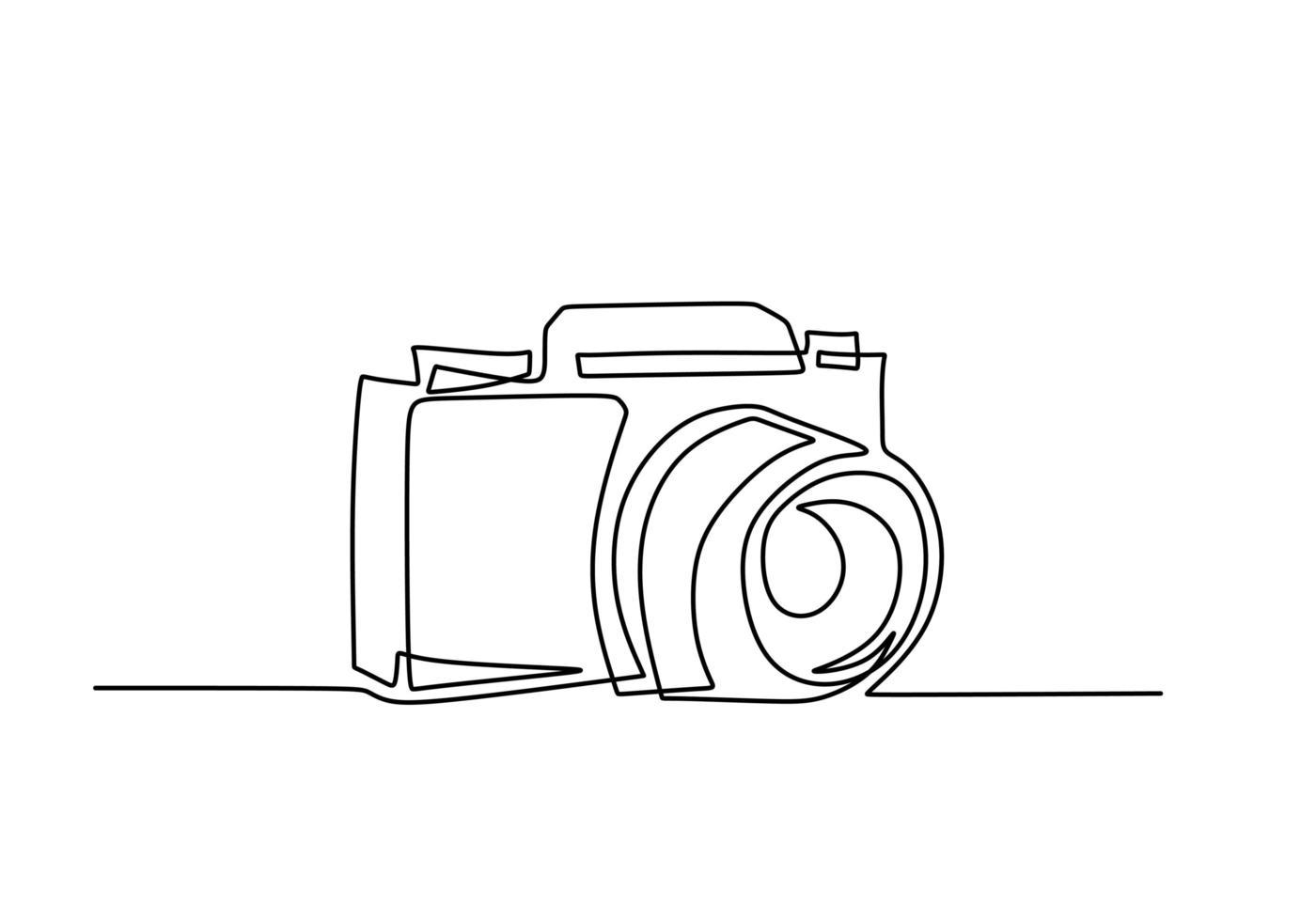 câmera digital um desenho de linha. ilustração vetorial conceito de tecnologia de gadget. vetor