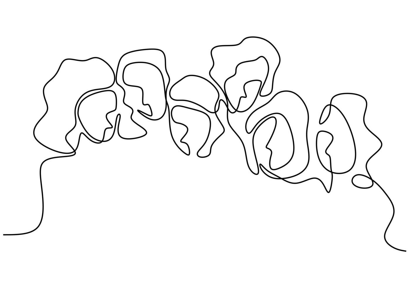 desenho de linha contínua de mulher. em pé com confiança. vetor