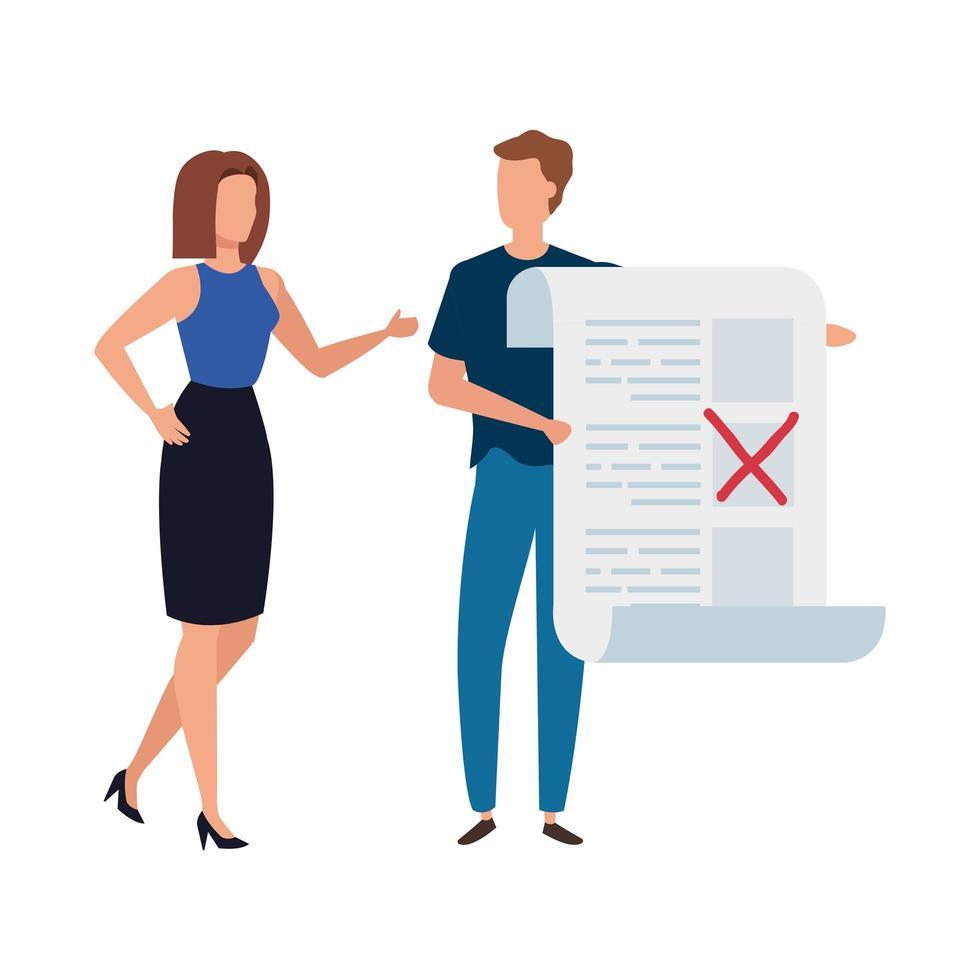 casal com ícone de formulário de voto isolado vetor