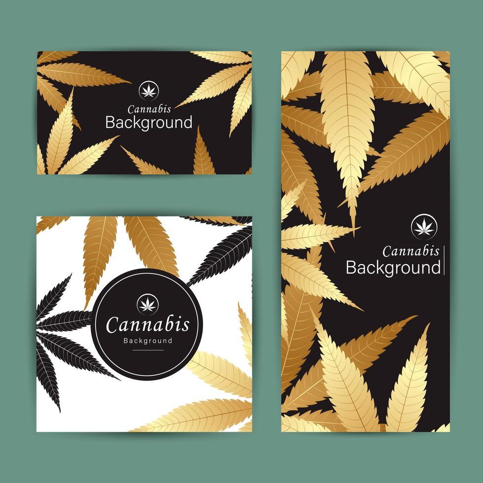 conjunto de cartão de fundo de banner de folhas de cannabis vetor