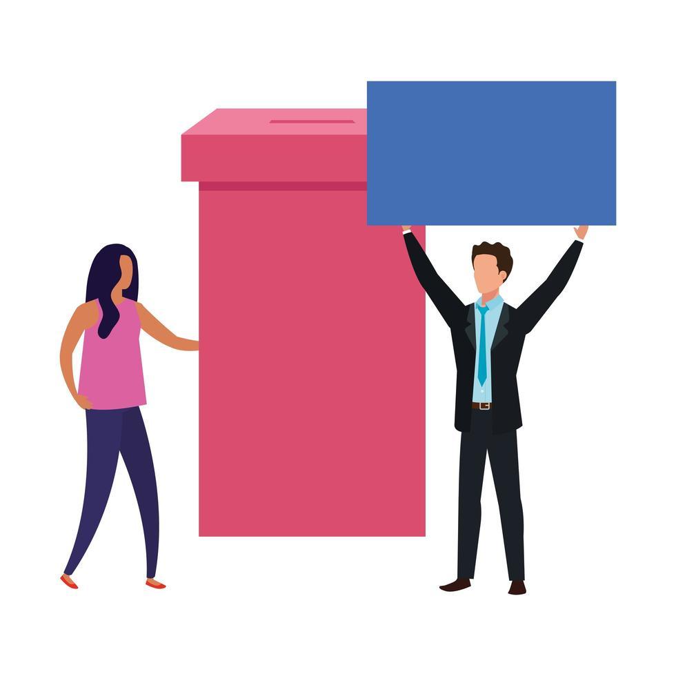 casal de negócios com ícone isolado de urna eleitoral vetor
