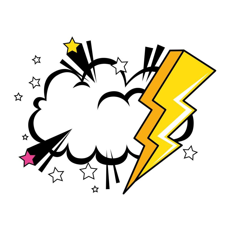 raio com ícone de estilo pop art na nuvem vetor