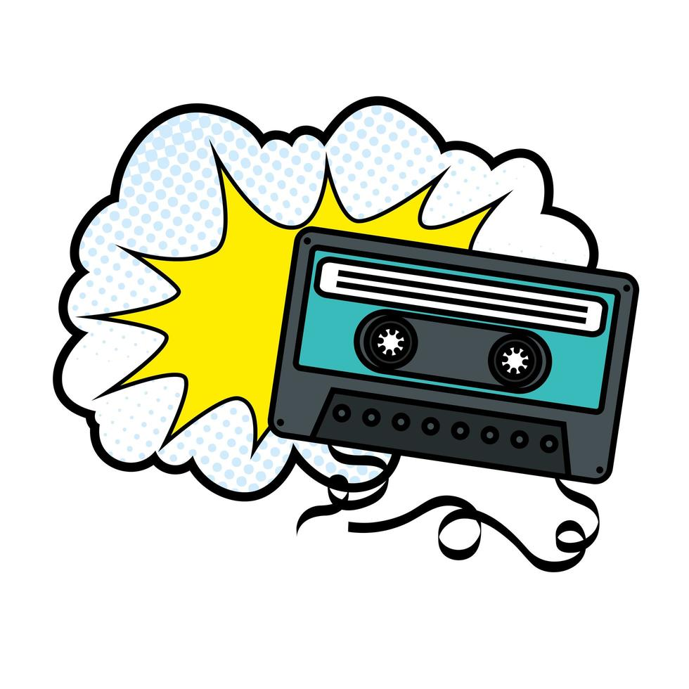 cassete com ícone de estilo pop art na nuvem vetor