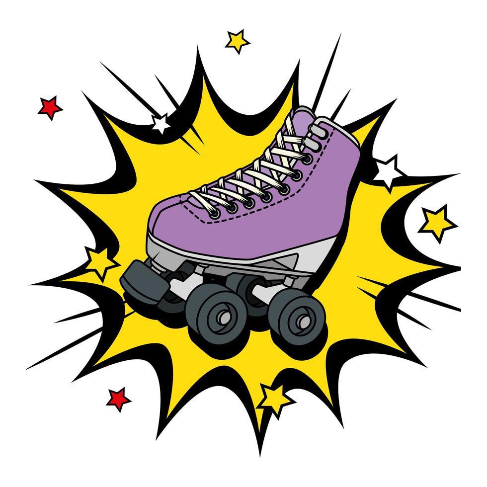 patins dos anos noventa em explosão pop art vetor
