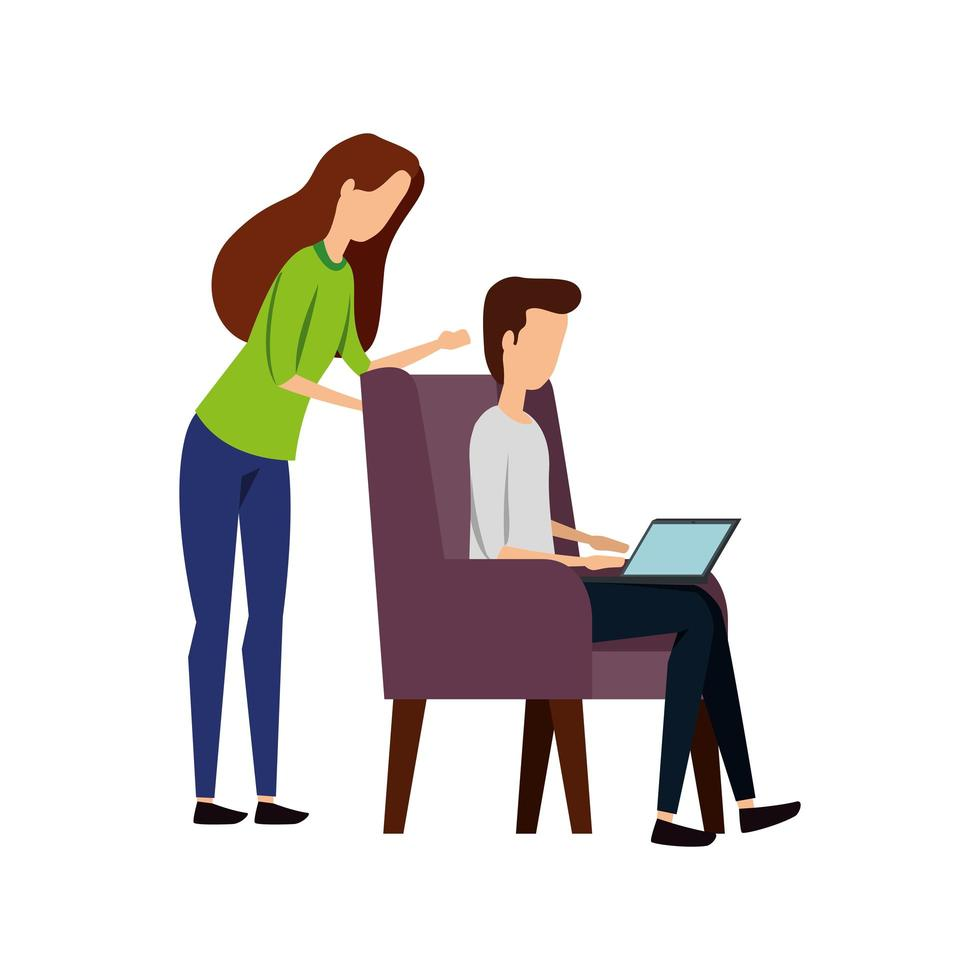 casal de negócios elegante com laptop no sofá vetor