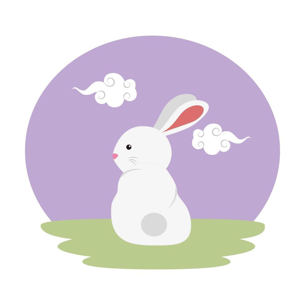 coelho fofo e pequeno no personagem de campo vetor