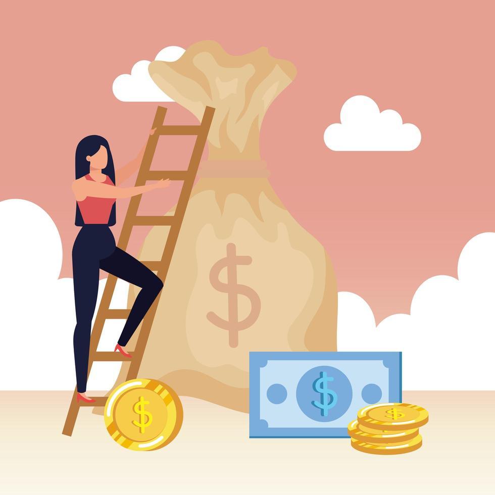 mulher com bolsa de dinheiro e escada vetor
