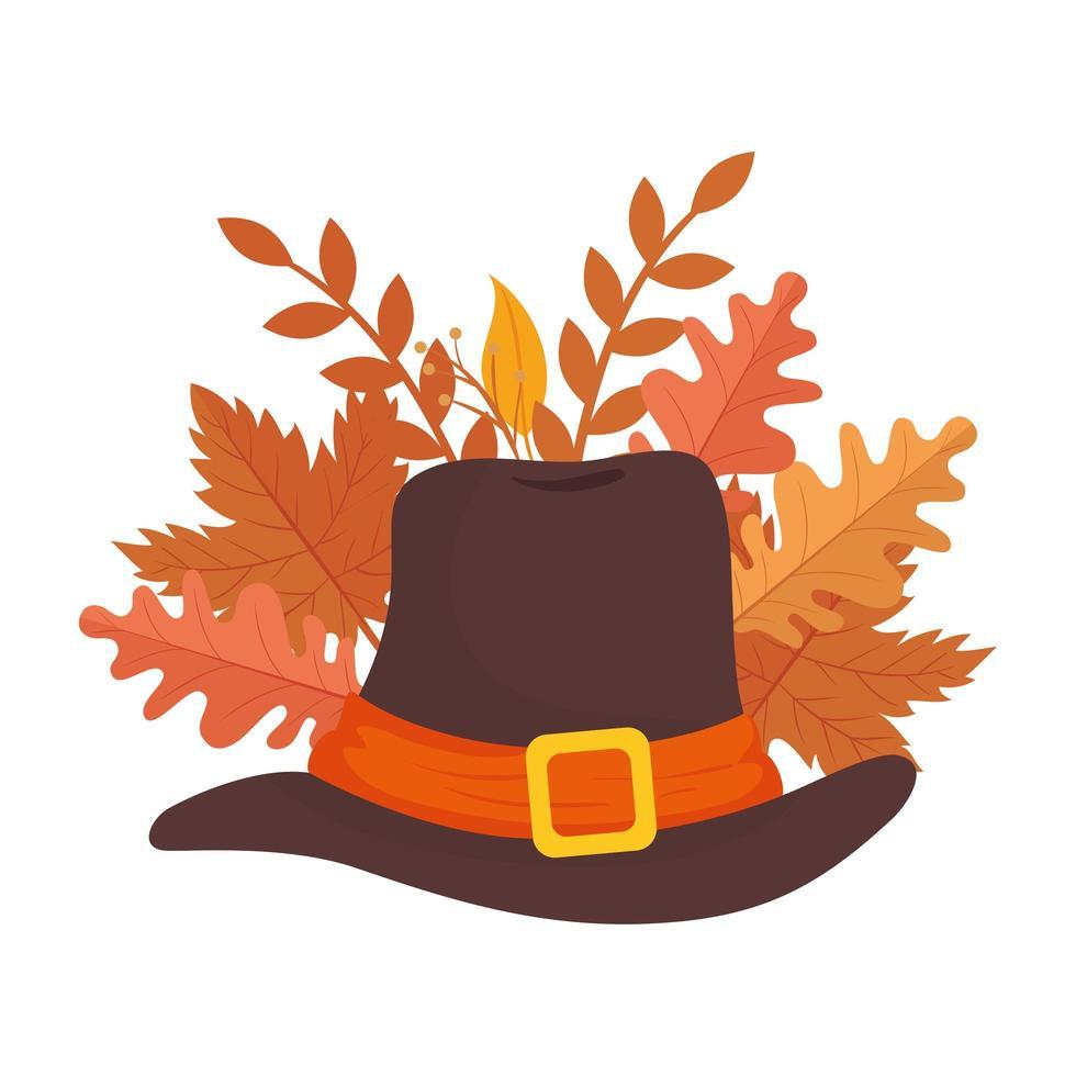 Acessório de chapéu de piligrim de ação de graças com folhas vetor