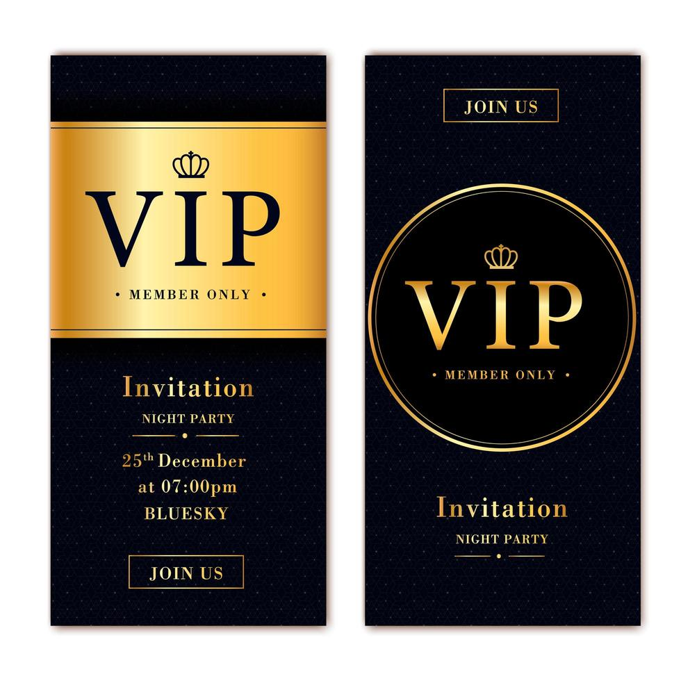 modelo de convite de voucher com design dourado e preto vetor