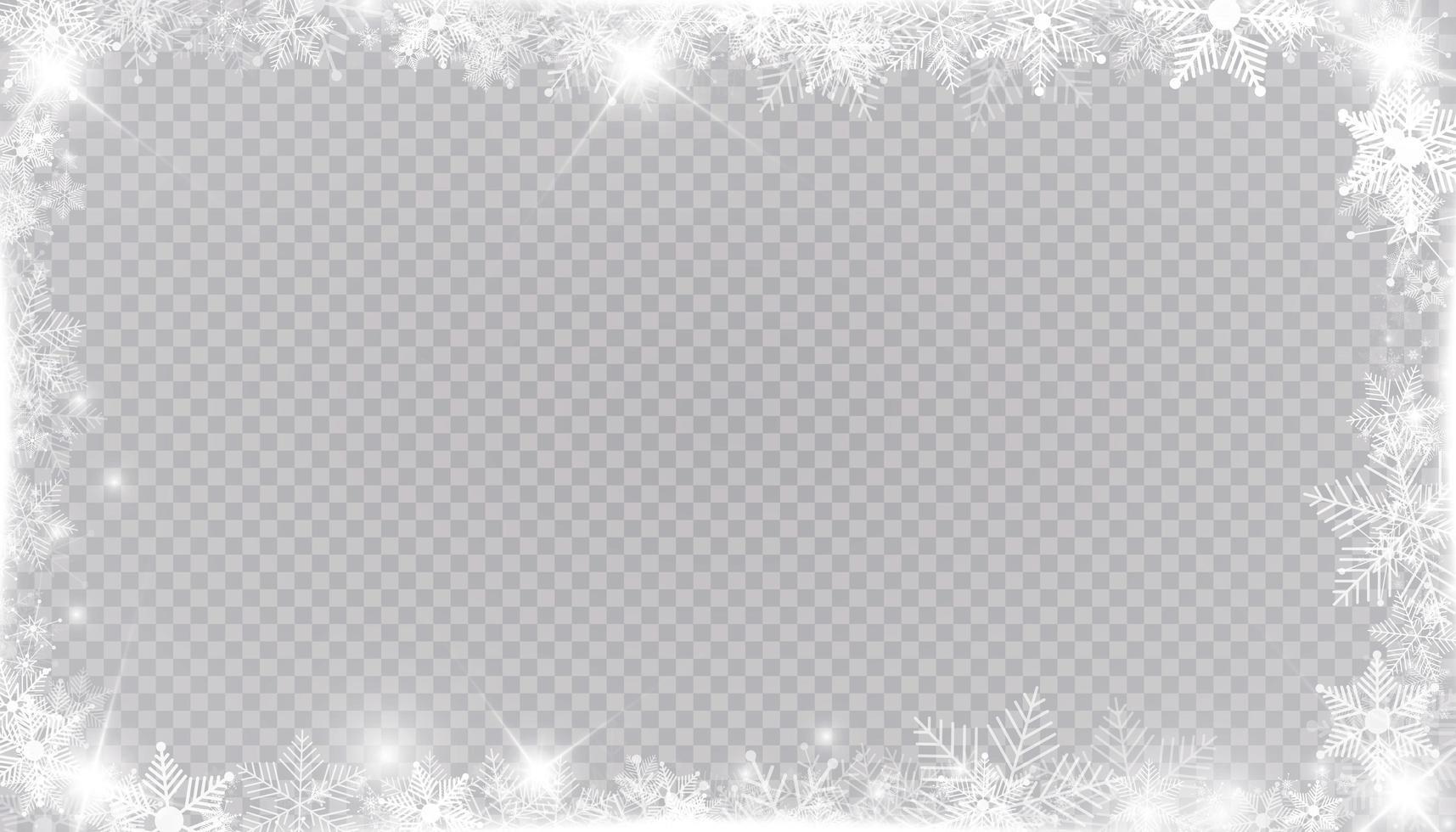 moldura de neve de inverno retangular com estrelas, brilhos e flocos de neve vetor