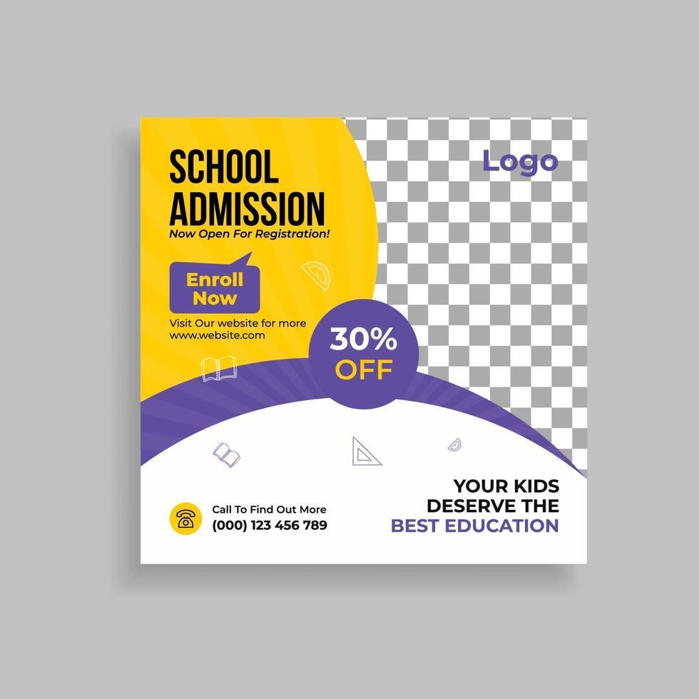 projeto de modelo de postagem de promoção de admissão escolar nas redes sociais vetor