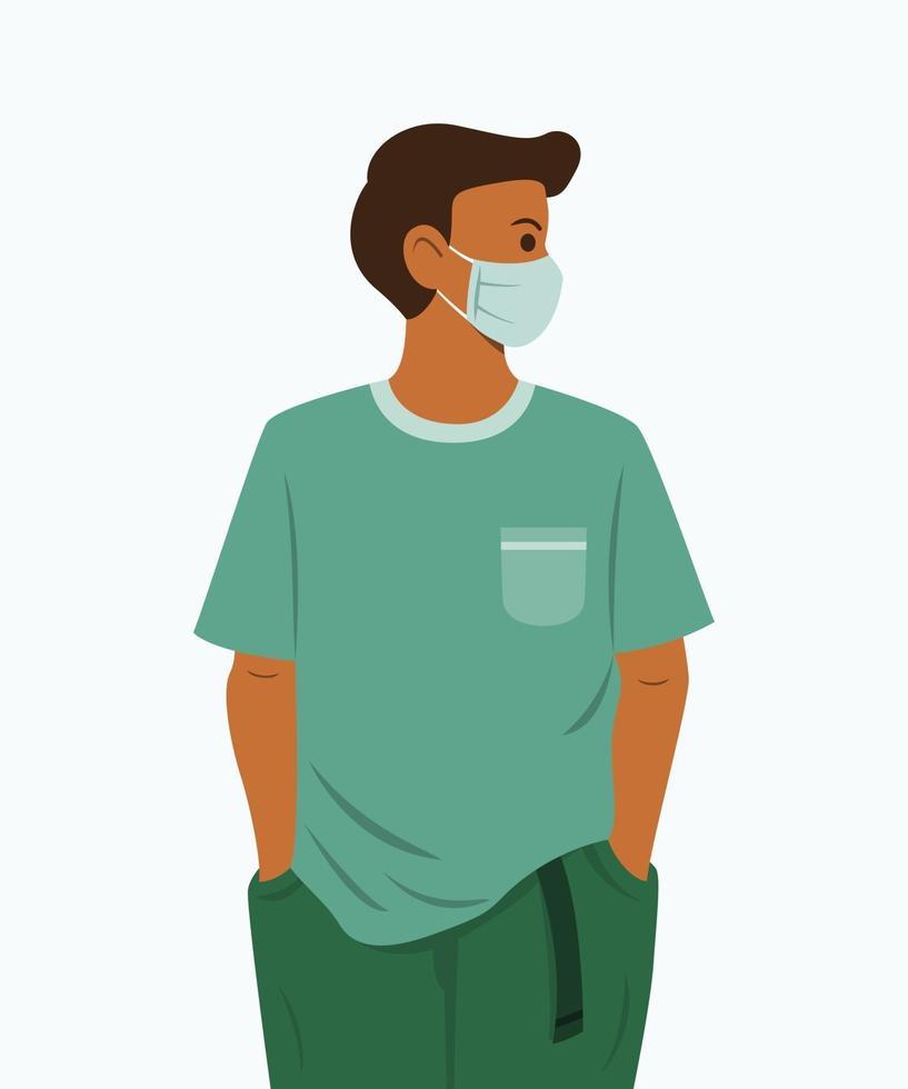 homem usa uma máscara médica para proteção da saúde. vetor