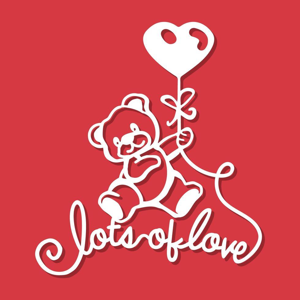 muito amor ursinho de pelúcia coração balões corte de papel vetor