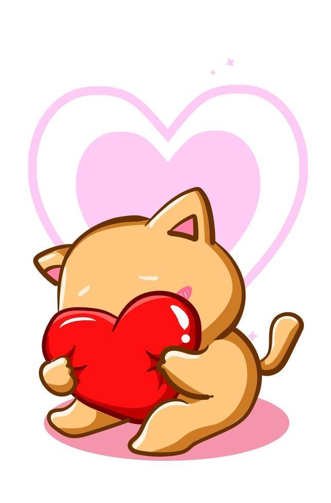 Um gato fofo e tímido abraçando um coração de travesseiro vetor