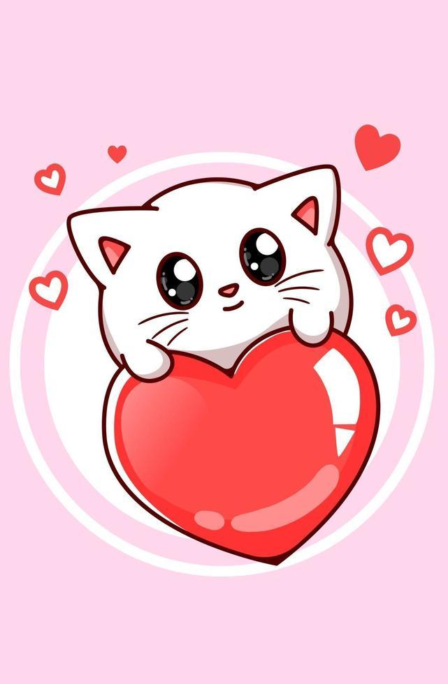 ilustração de desenho animado de gato fofo no coração grande vetor