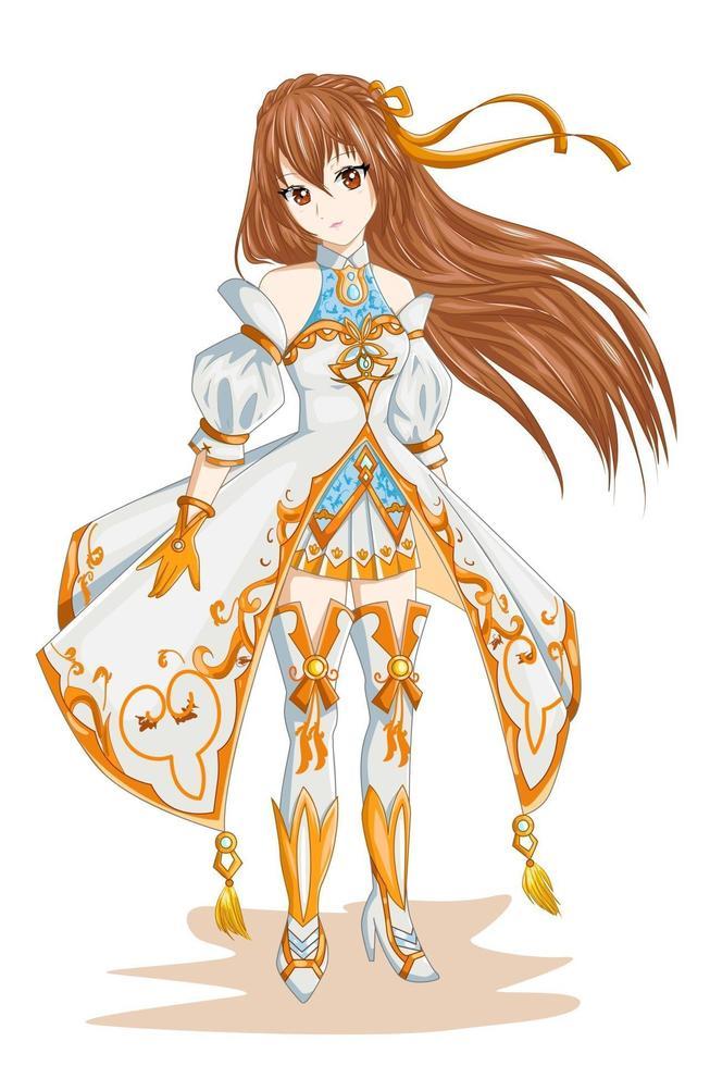 garota de anime com cabelo castanho usando fantasia de ouro branco vetor