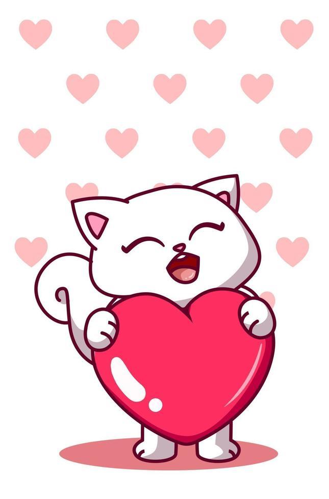 um gato bonito com uma ilustração de desenho animado grande coração vetor