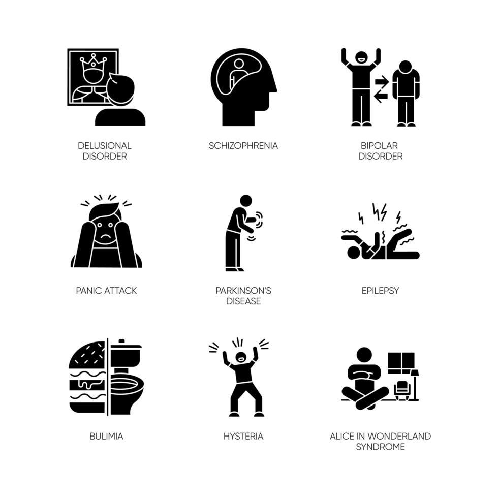 conjunto de ícones de glifo de transtorno mental. esquizofrenia. transtorno bipolar. ataque de pânico. doença de Parkinson. epilepsia. bulimia. histeria. Alice no Pais das Maravilhas. símbolos de silhueta. ilustração isolada do vetor