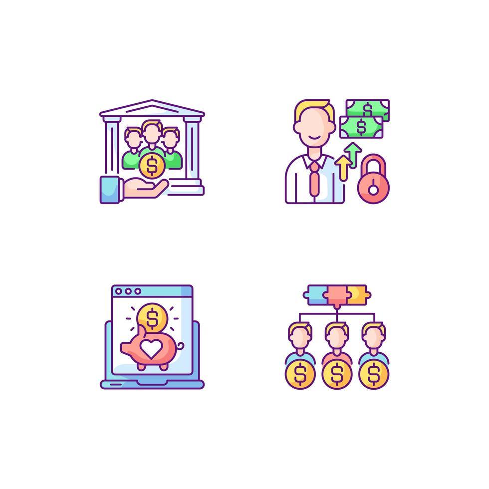 organização crowdfunding conjunto de ícones de cores rgb vetor