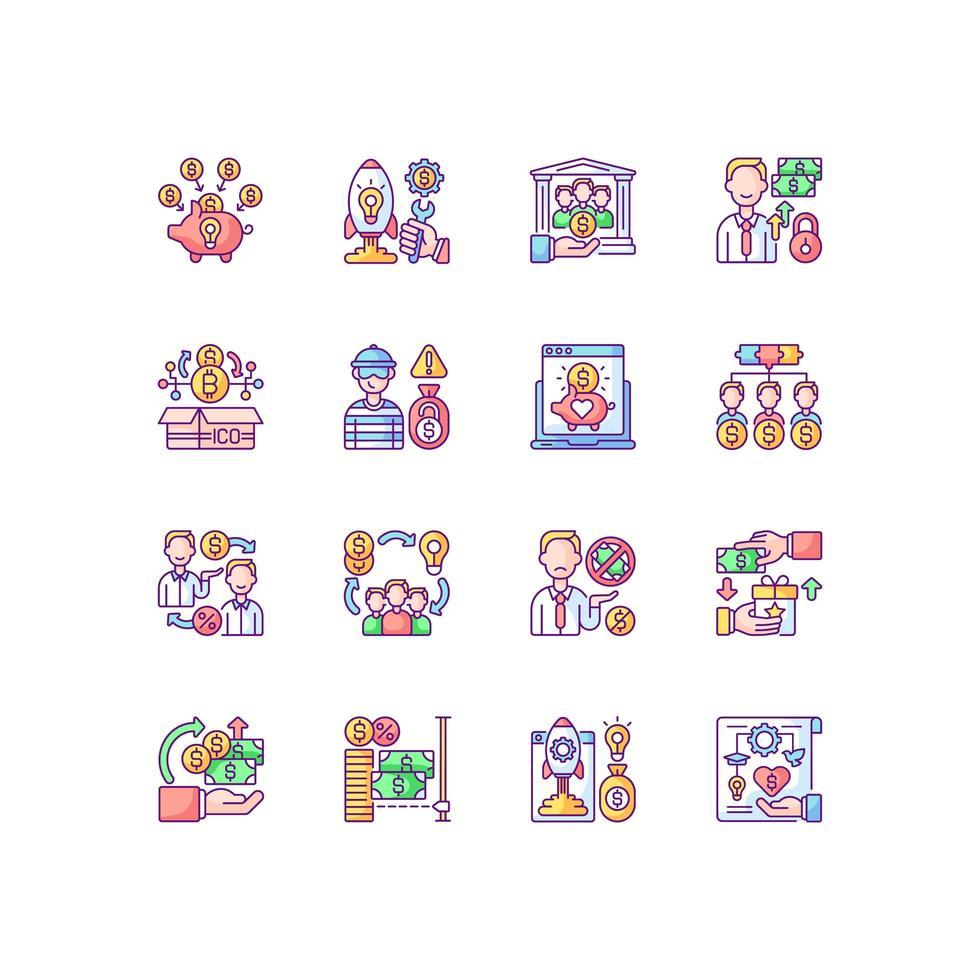 conjunto de ícones de cores rgb de crowdfunding vetor