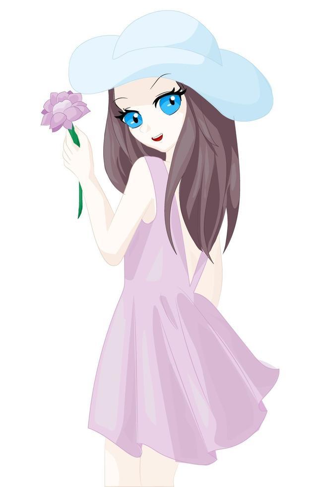 menina com chapéu azul, vestido rosa e segurando uma flor rosa na mão esquerda vetor