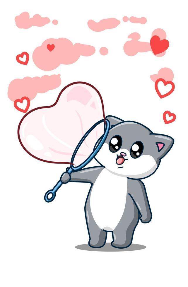 ilustração de desenho animado gato feliz soprando bolhas de amor vetor
