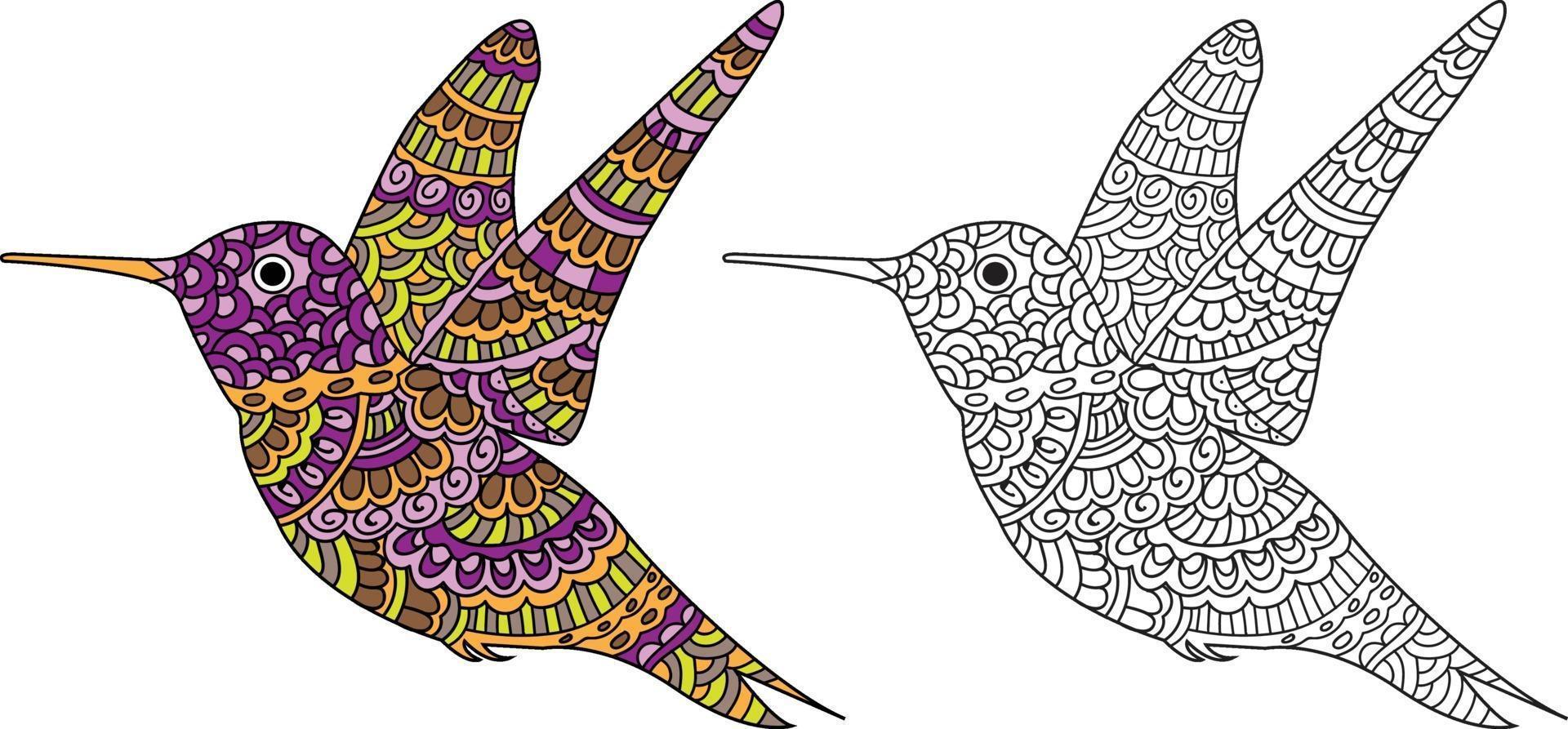 desenho de pássaro voador desenho livro para colorir para adultos e crianças vetor