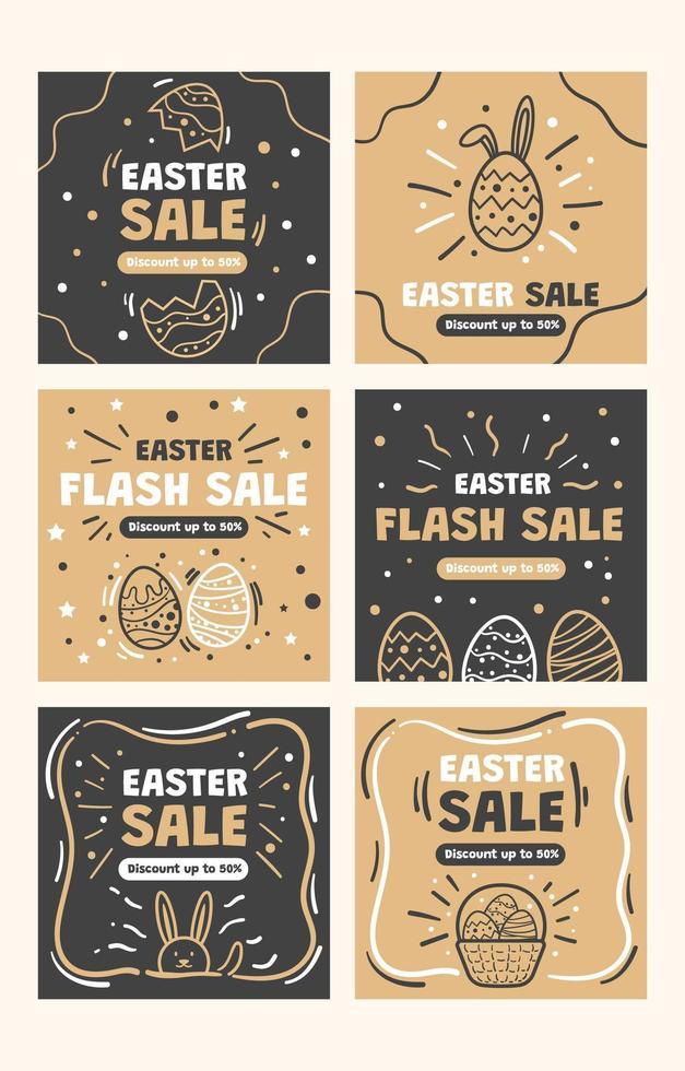 ovos de páscoa para postagens de marketing de mídia social vetor