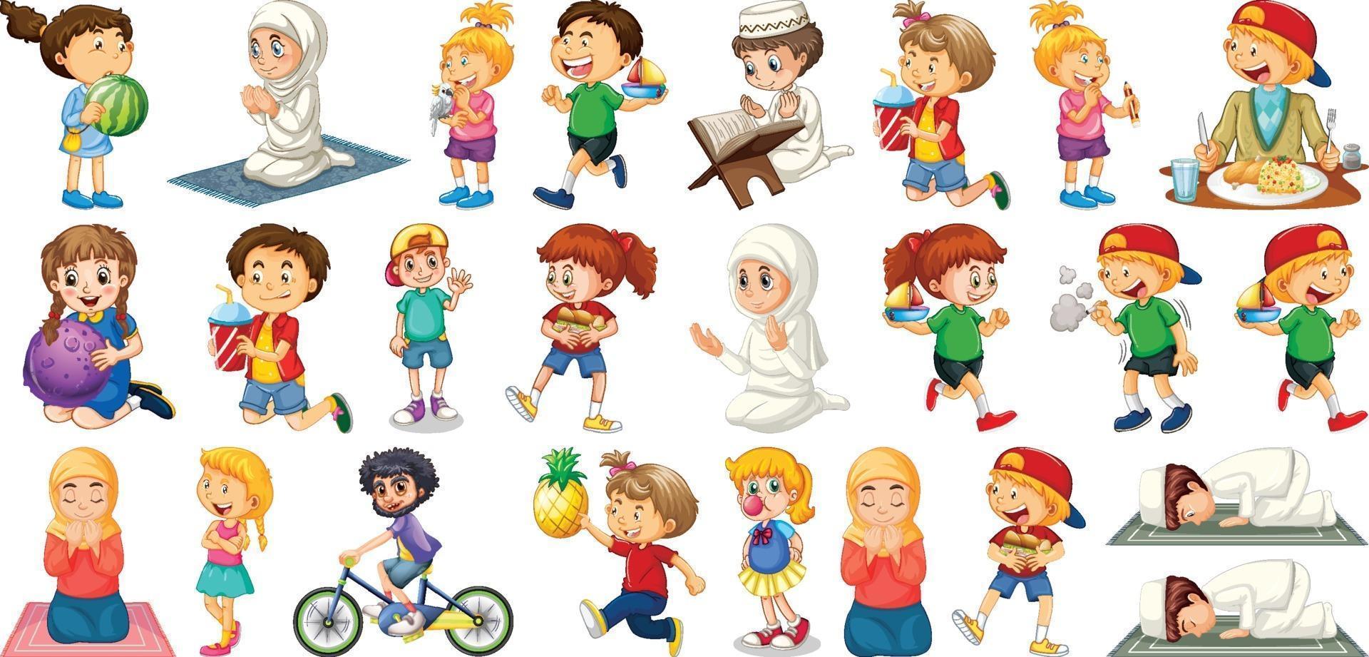 crianças fazendo atividades diferentes com personagens de desenhos animados em fundo branco vetor
