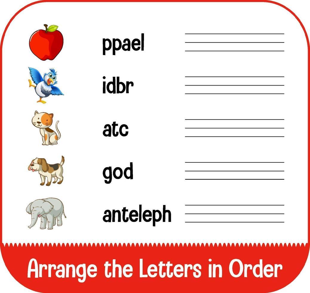 organize as letras em ordem com fotos vetor