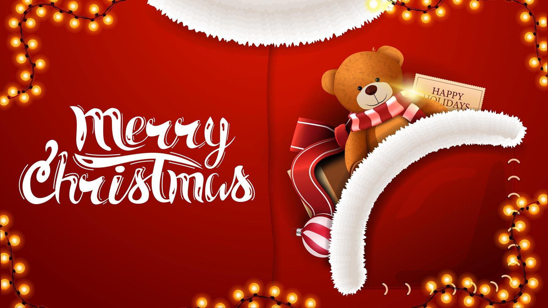 Feliz Natal, postal vermelho em forma de fantasia de Papai Noel com presente e ursinho de pelúcia no bolso vetor