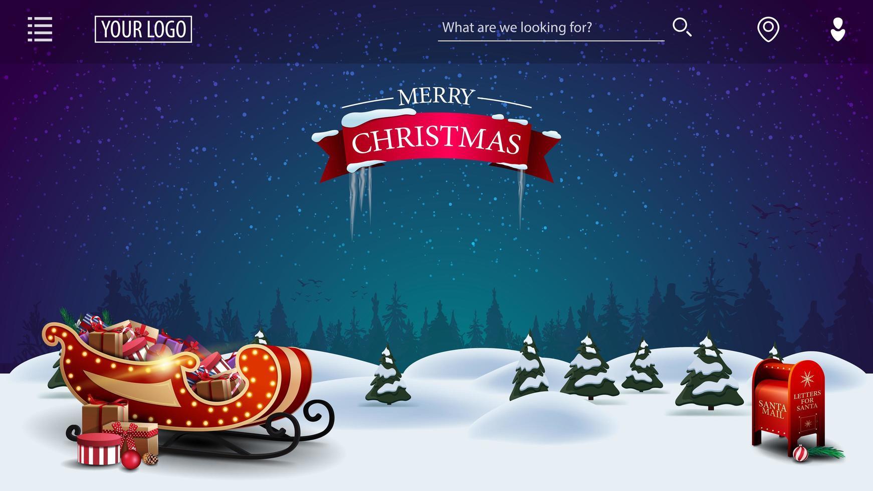 Feliz Natal, modelo para suas artes com desenho animado noite paisagem de inverno com caixa de correio de Papai Noel e trenó de Papai Noel vetor