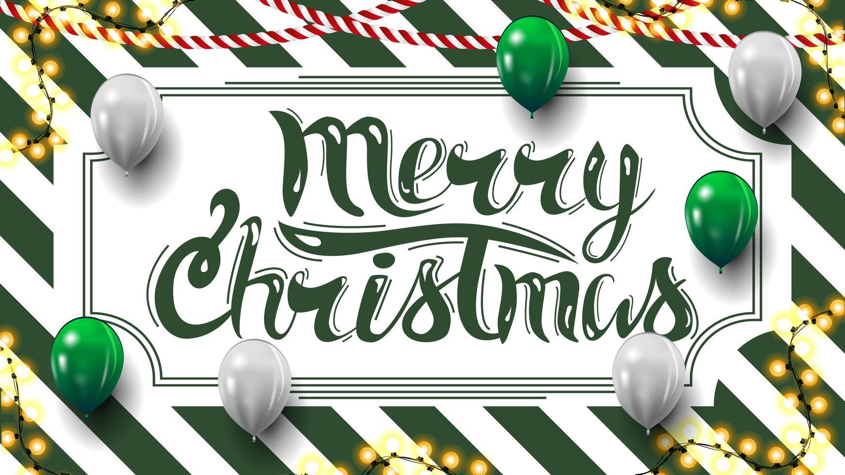 feliz natal, cartão postal com textura listrada de verde e branco no fundo, guirlandas e balões vetor