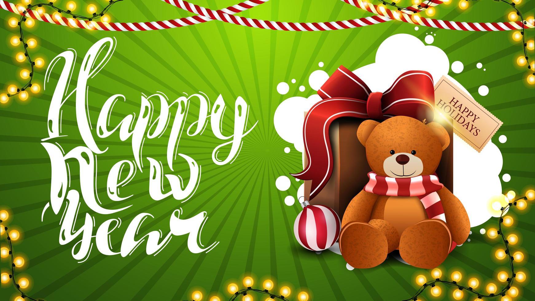 feliz ano novo, cartão verde horizontal com lindas letras, decoração de natal e presente com ursinho de pelúcia vetor