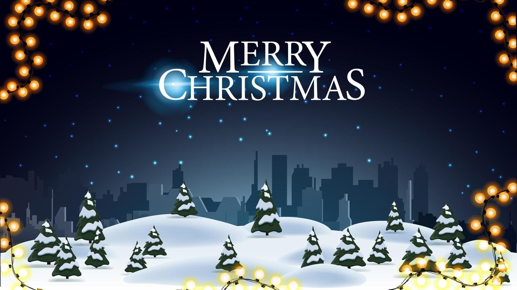 Feliz Natal, cartão postal com paisagem noturna de inverno e silhueta da cidade na horizontal vetor